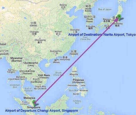 Changi Airport, Singapore toNarita Airport, Tokyo