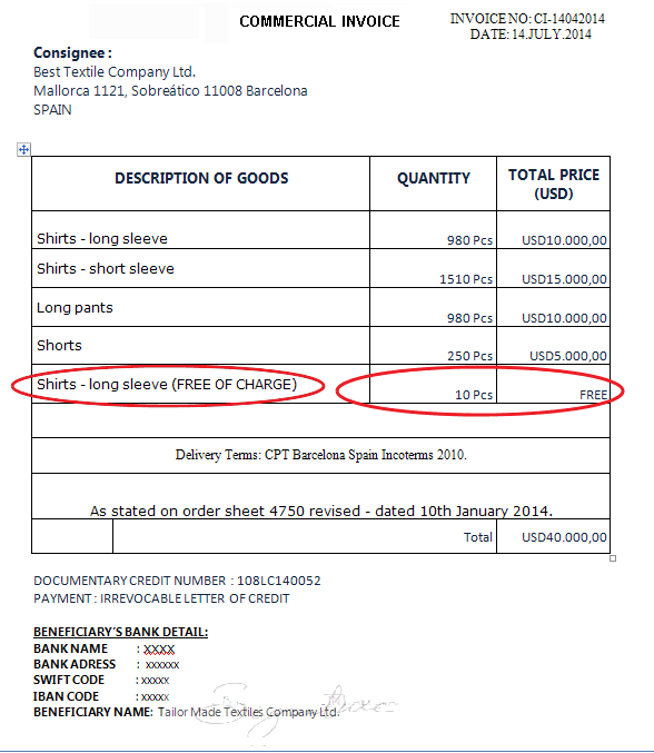 commercial invoice discrepancy example