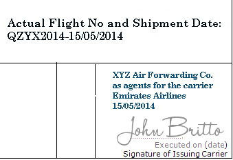 How to determine date of shipment on an Air Transport Document?
