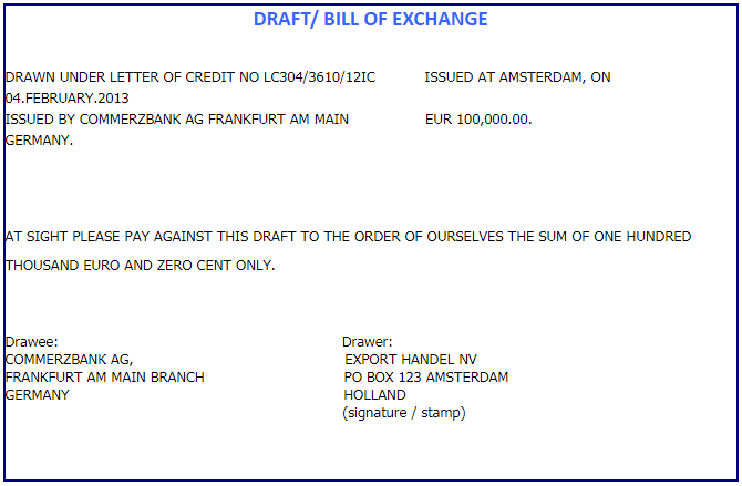 bill of exchange sample