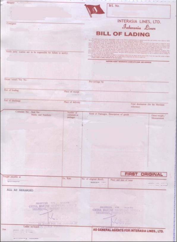 Figure 1 : Bill of Lading Sample