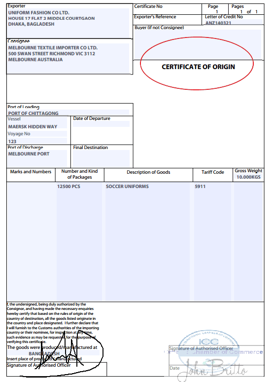 certificate of origin discrepancy gsp form a