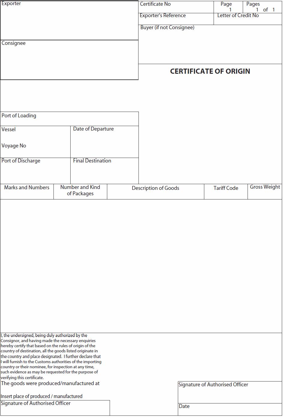 Certificate of Origin | Letterofcredit.biz | LC | L/C on certificate of ownership, shipper template, bill of lading template, certificate of weight form, certificate of sale form, invoice template, power of attorney template, letter of intent template, certificate of valuation, certificate of promotion, certificate of service,