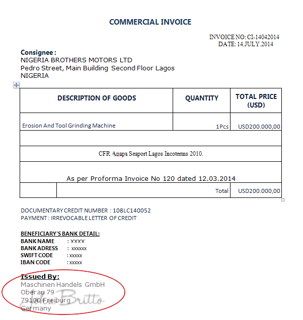 commercial invoice beneficiary discrepancy