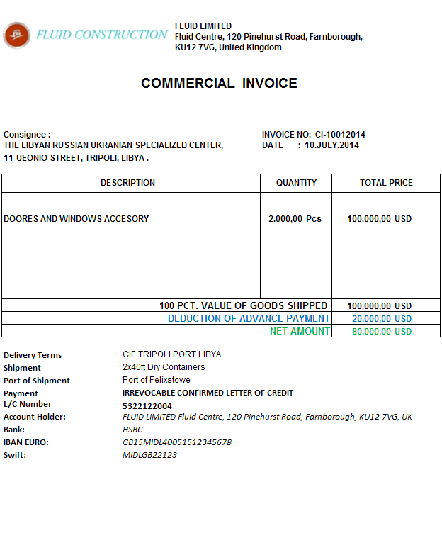 Commercial Invoice | Letterofcredit biz | LC | L/C