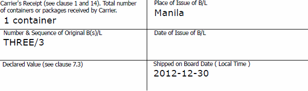 charter party bill of lading date of shipment