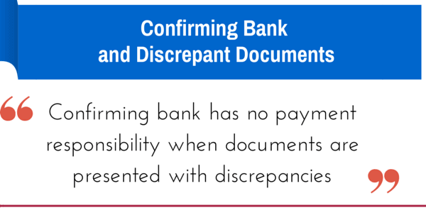 discrepant documents and the confirming bank