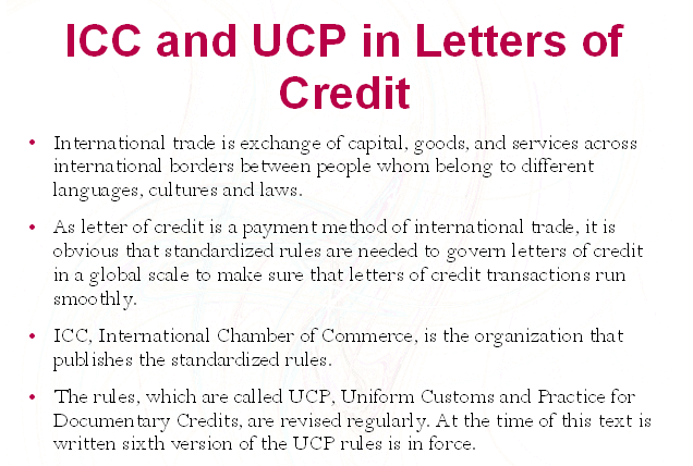 icc and ucp in letters of credit