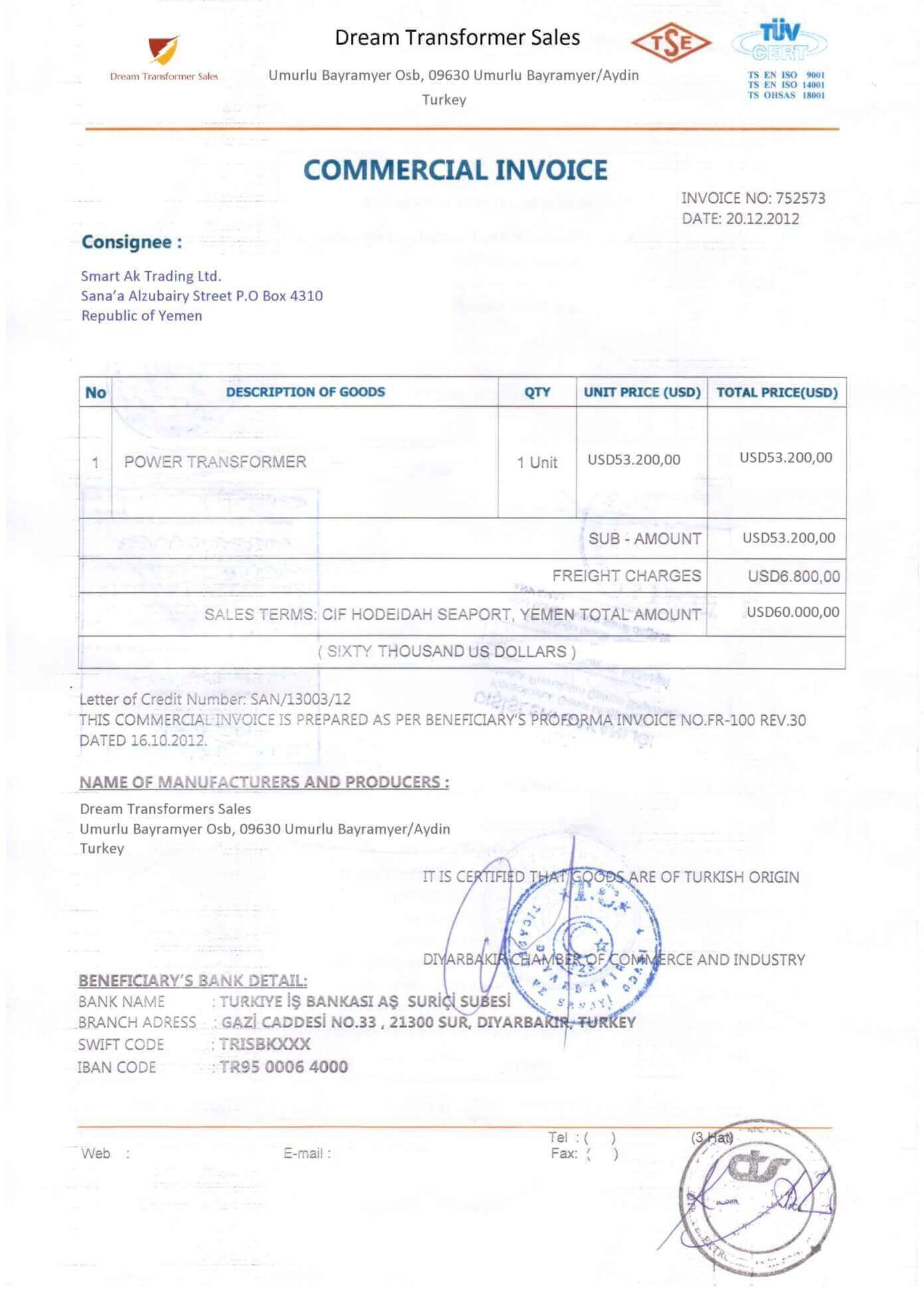 legalized commercial invoice sample front side