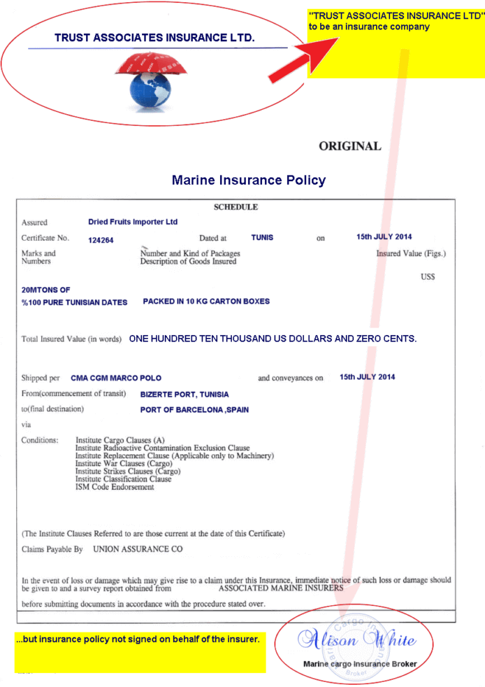 marine insurance policy discrepancy example