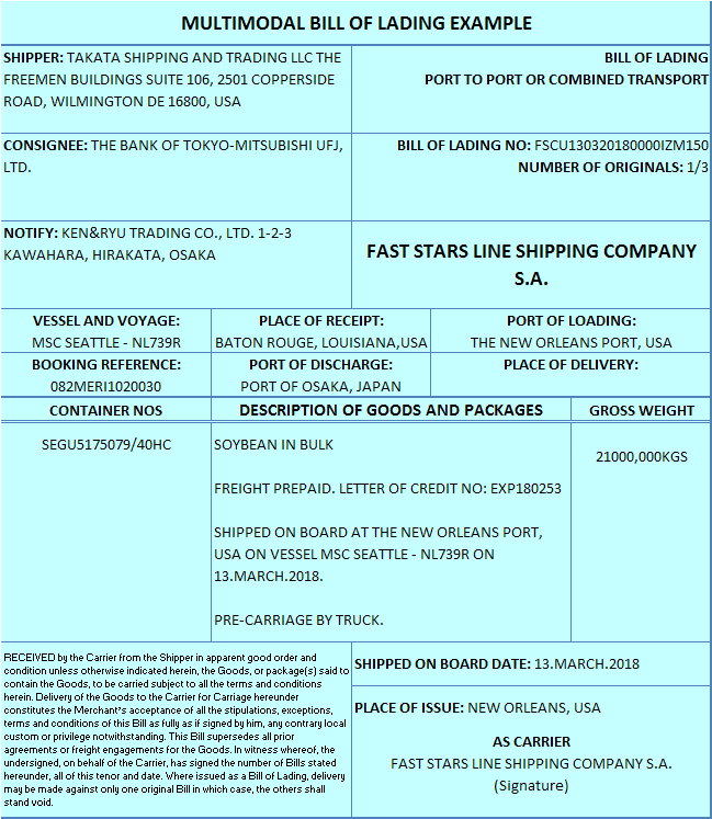multimodal bill of lading example