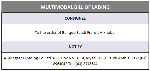 multimodal bill of lading notify party discrepancy