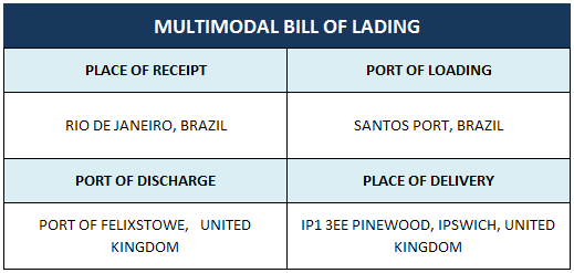 multimodal bill of lading place of receipt discrepancy