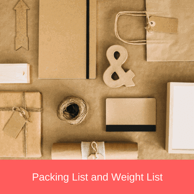 packing list and weight list
