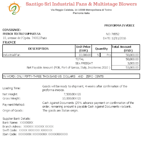 proforma invoice sample