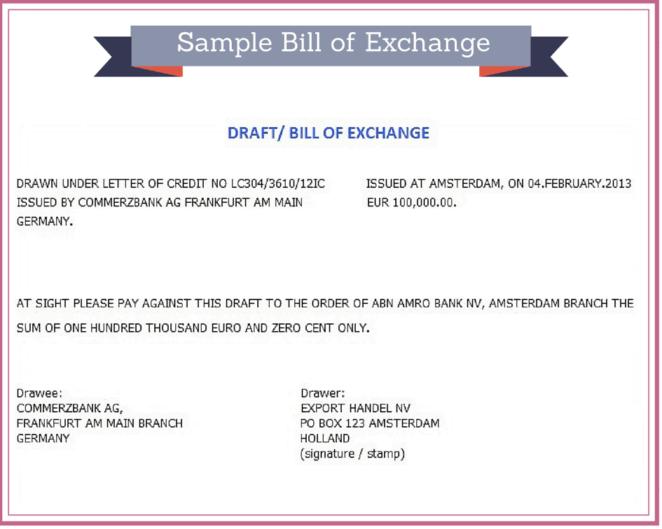 bill of exchange example.