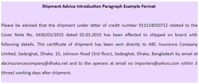 shipment advice introduction paragraph