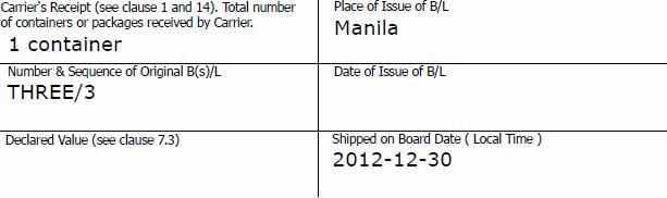 date of shipment on sea waybill