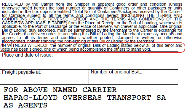 surrender clause of a bill of lading