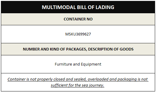 Unclean multimodal bill of lading
